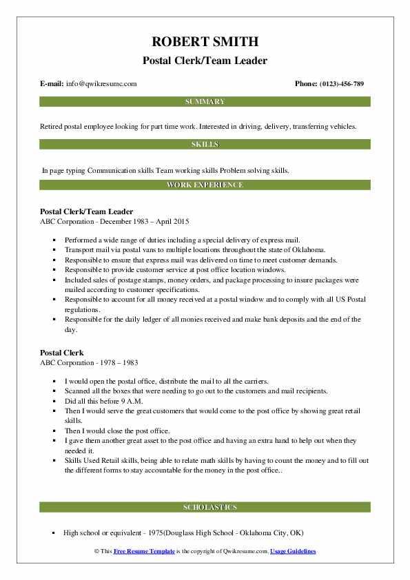 Postal Clerk/Team Leader Resume Model