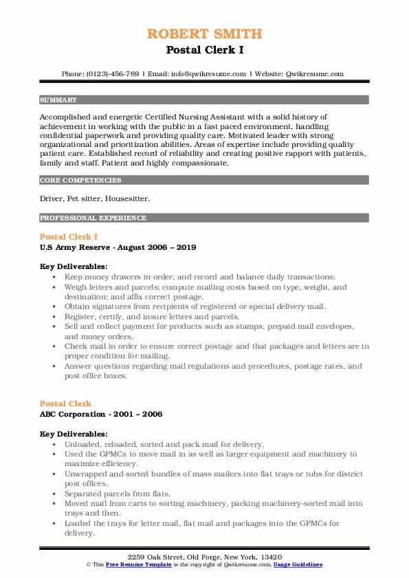 Postal Clerk I Resume Format