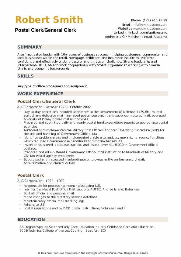 Postal Clerk/General Clerk Resume Template