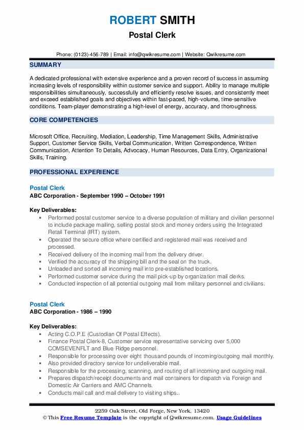 Postal Clerk Resume example