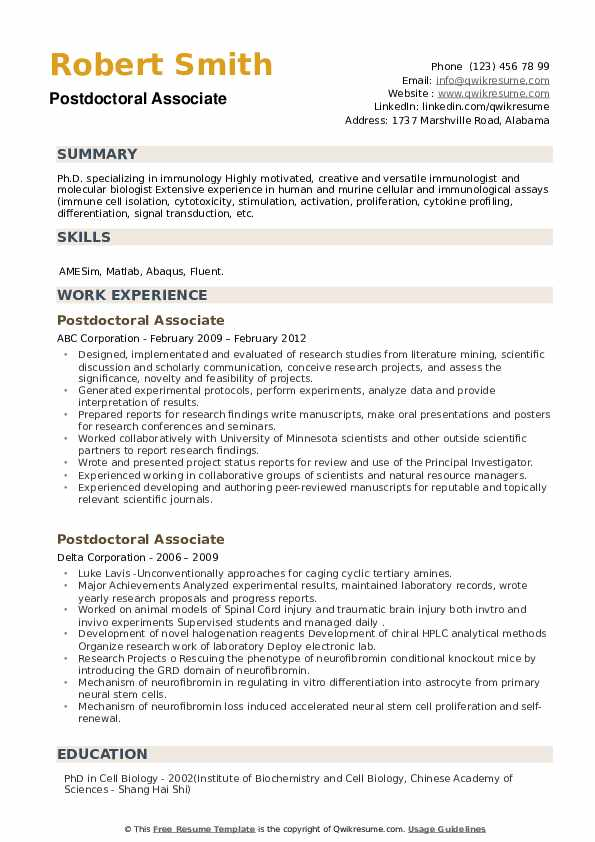 Postdoctoral Associate Resume example