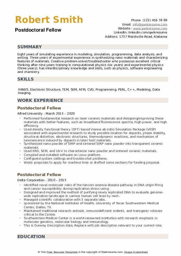 Postdoctoral Fellow Resume example
