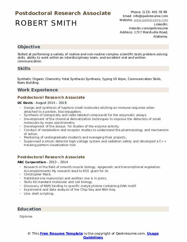 Postdoctoral Research Associate Resume Samples Qwikresume