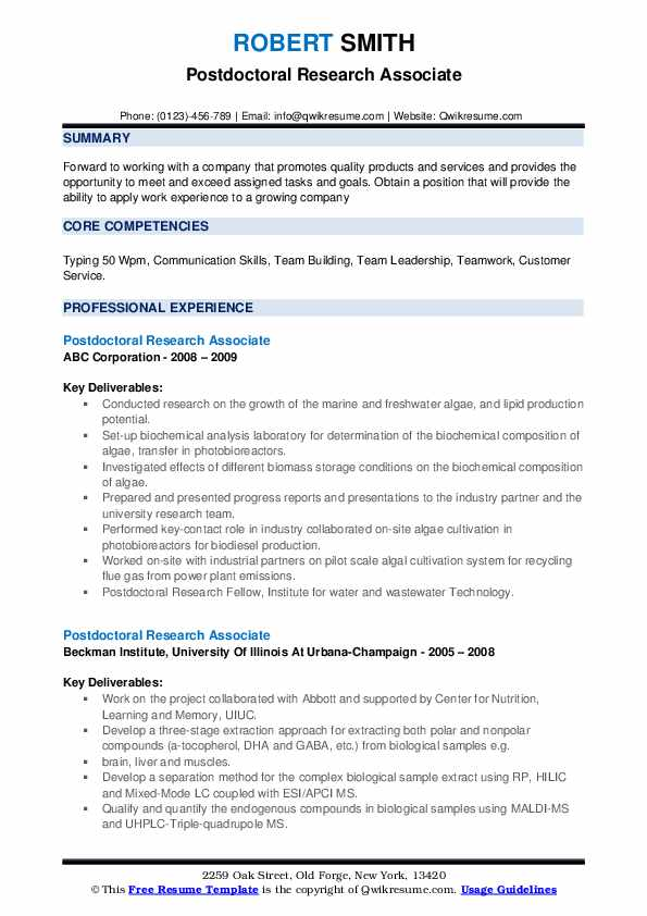 Postdoctoral Research Associate Resume example