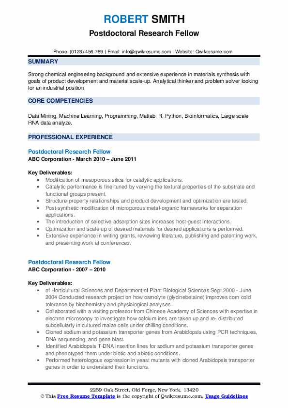 Postdoctoral Research Fellow Resume example