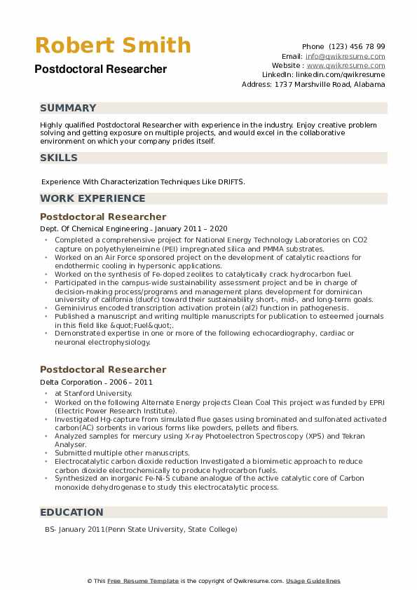 PostDoctoral Researcher Resume example