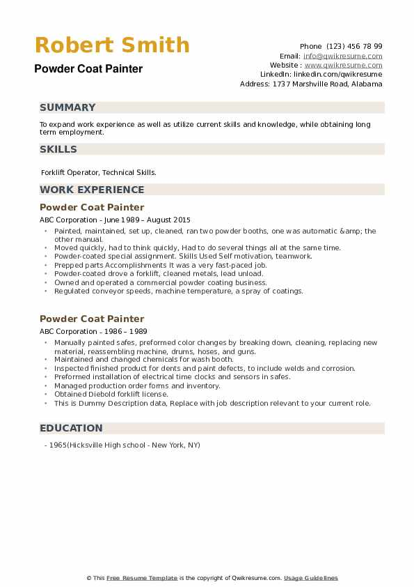 Powder Coat Painter Resume example