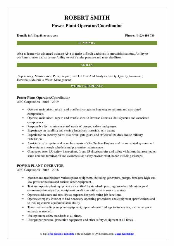 Power Plant Operator/Coordinator Resume Template