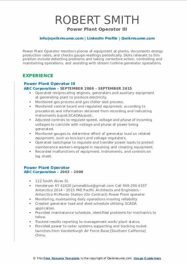 Power Plant Operator III Resume Template