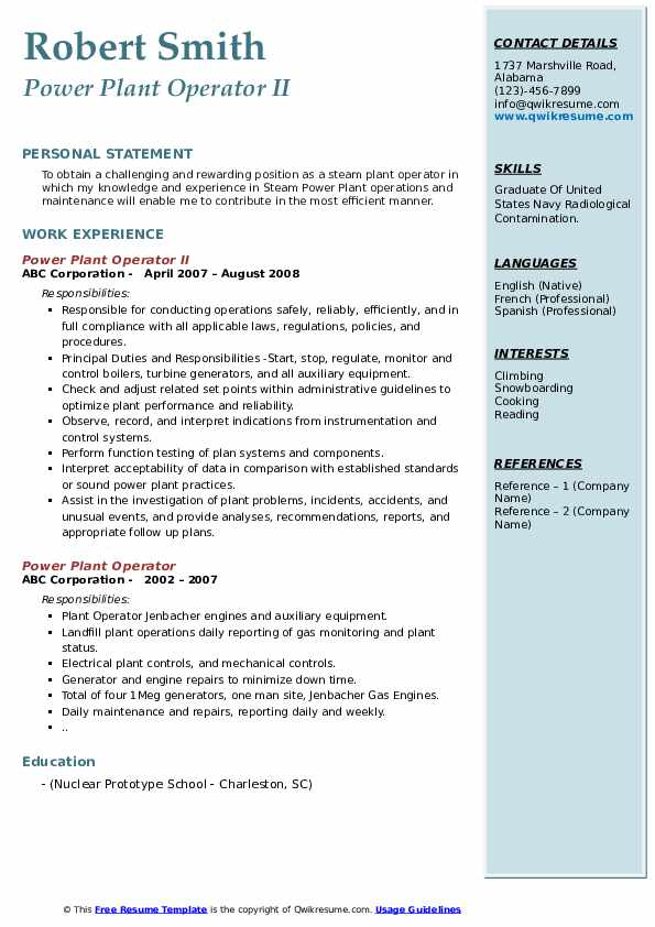Power Plant Operator Resume Samples Qwikresume