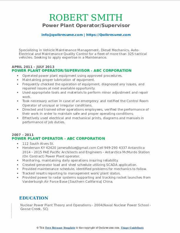 Power Plant Operator/Supervisor Resume Model