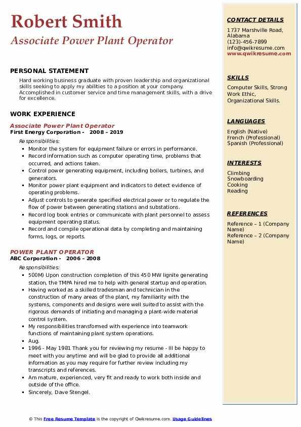 Associate Power Plant Operator Resume Template