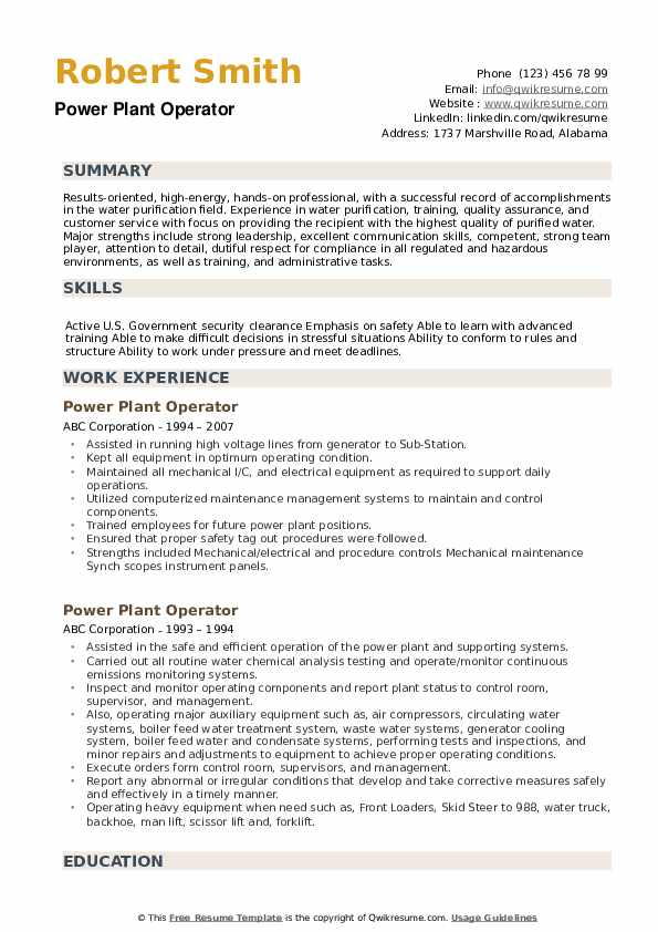 Power Plant Operator Resume example