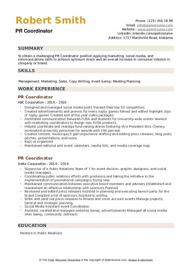 PR Coordinator Resume example
