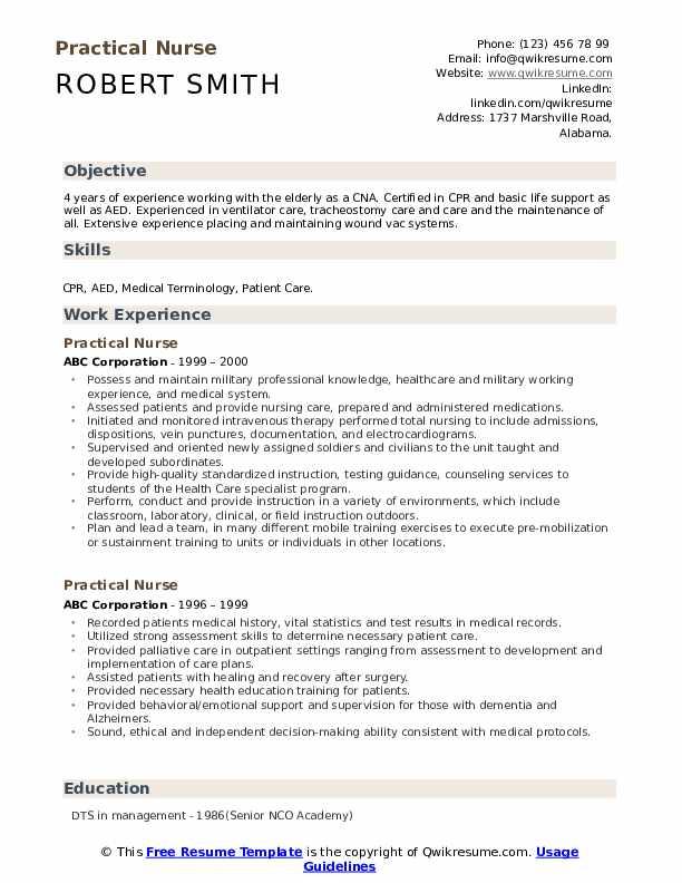 Practical Nurse Resume Model