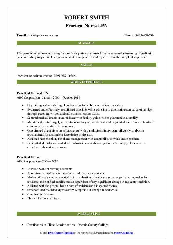 Practical Nurse-LPN Resume Template