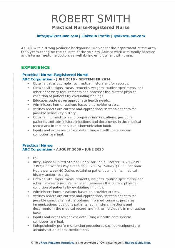 Practical Nurse-Registered Nurse Resume Sample