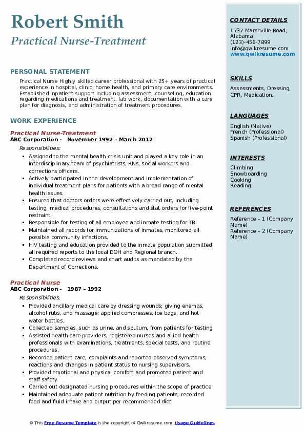 Practical Nurse-Treatment  Resume Model