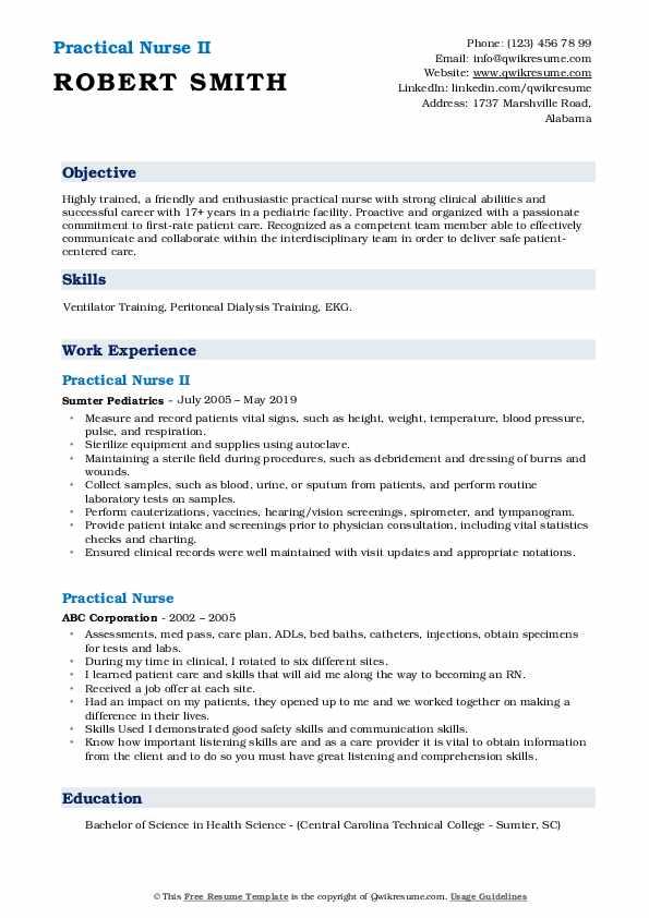 Practical Nurse II Resume Model