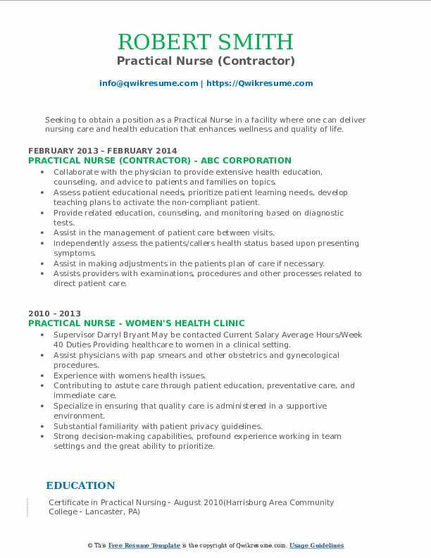 Practical Nurse (Contractor) Resume Sample