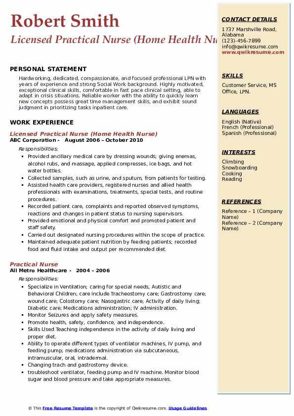 Licensed Practical Nurse (Home Health Nurse) Resume Format