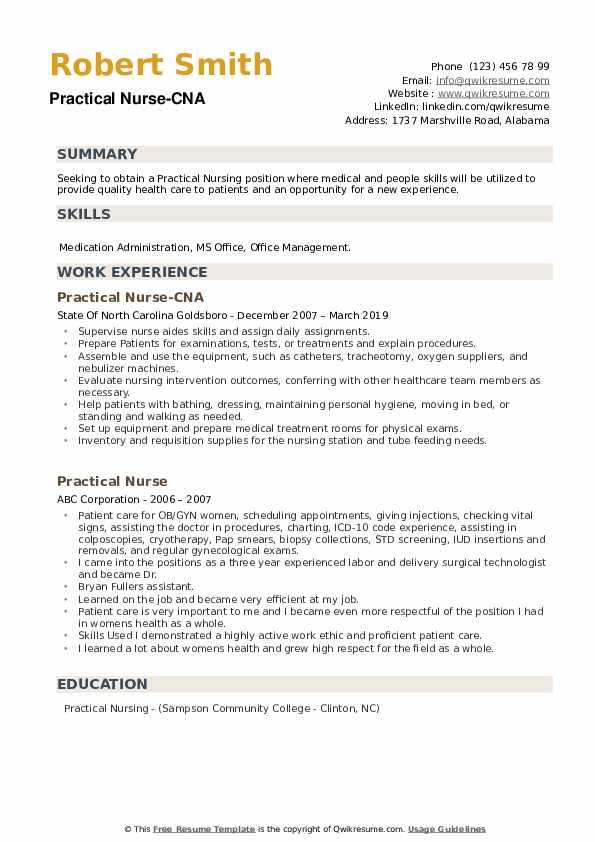 Practical Nurse-CNA Resume Sample
