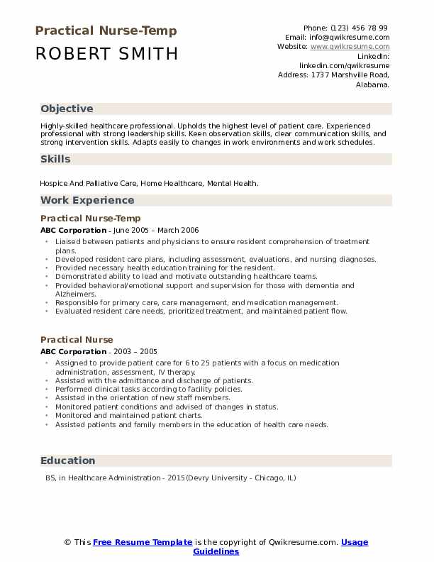 Practical Nurse-Temp Resume Sample