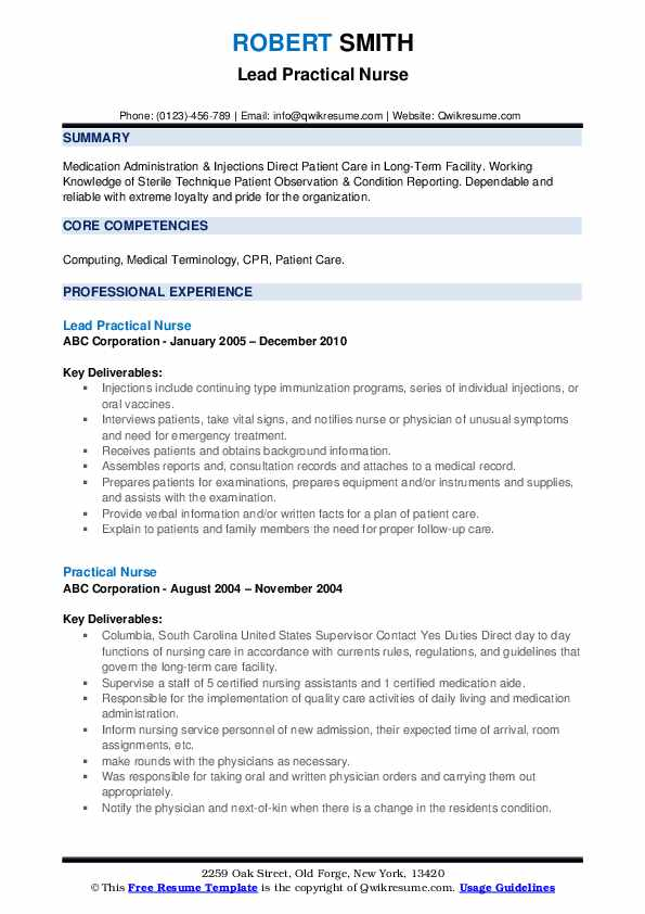 Lead Practical Nurse Resume Format
