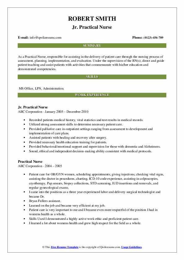 Jr. Practical Nurse Resume Template