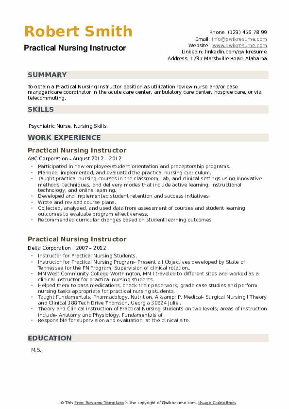 Practical Nursing Instructor Resume example