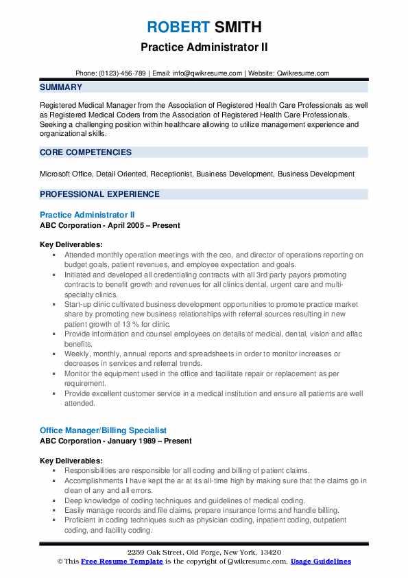 Practice Administrator II Resume Format