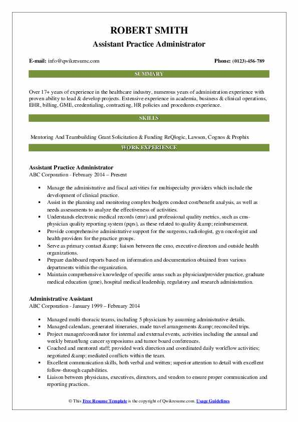 Assistant Practice Administrator Resume Format