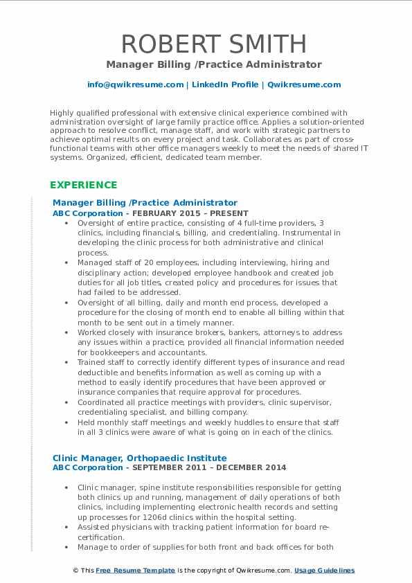 Manager Billing /Practice Administrator Resume Model