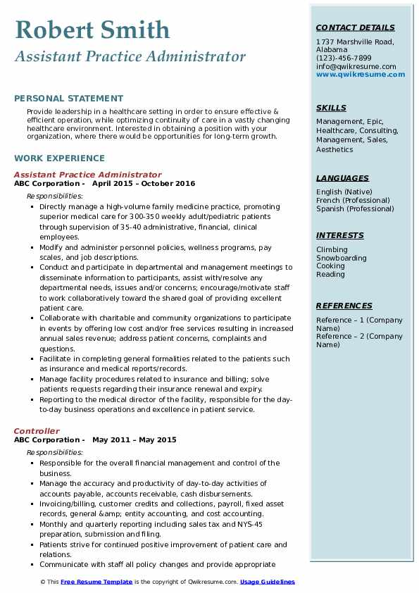 Assistant Practice Administrator Resume Model