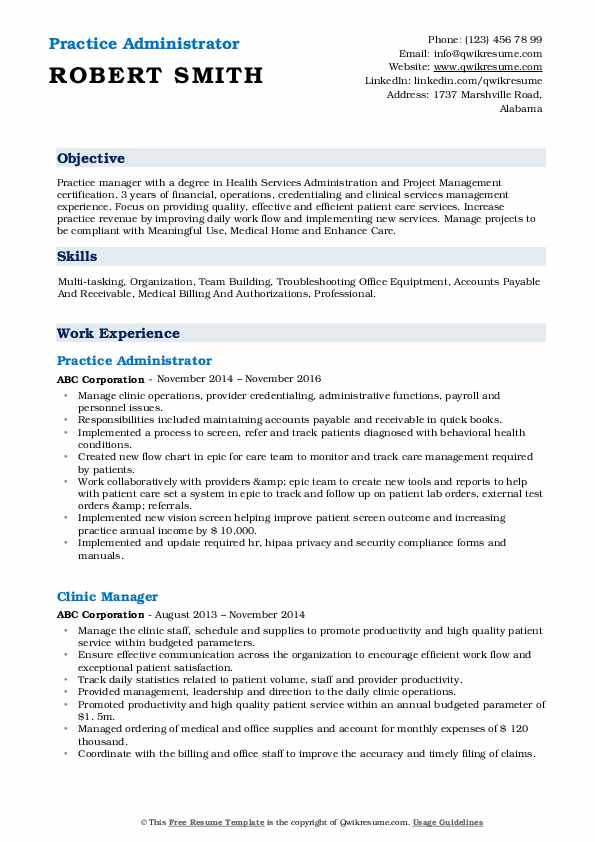 Practice Administrator Resume Sample