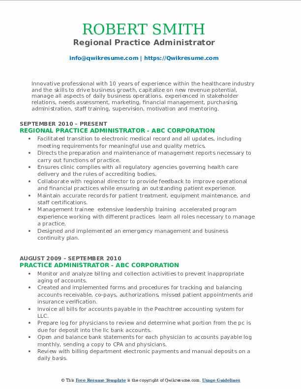 Regional Practice Administrator Resume Template