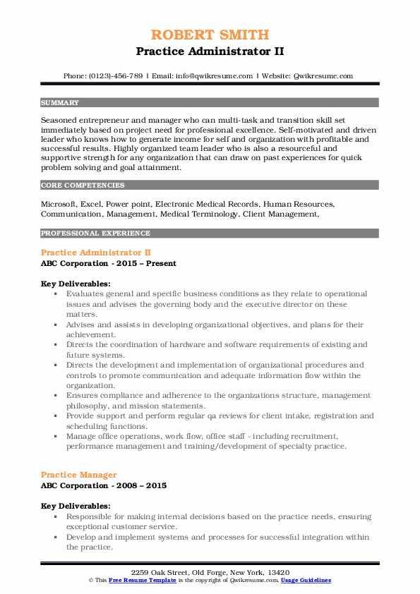 Practice Administrator II Resume Template