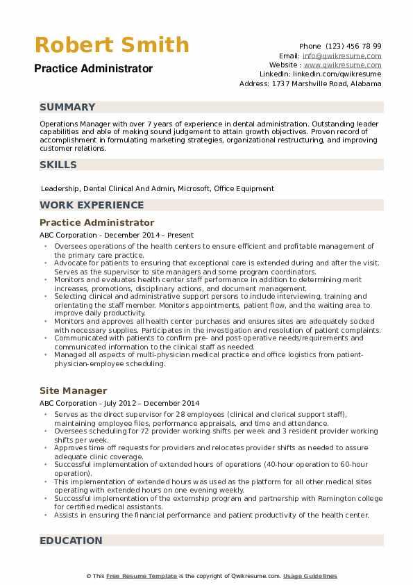 Practice Administrator Resume example