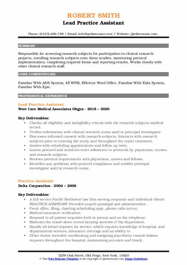 Practice Assistant Resume example