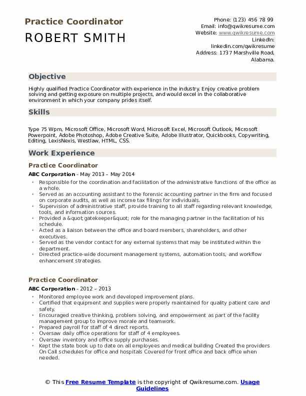 Practice Coordinator Resume Format