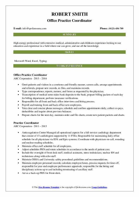Office Practice Coordinator Resume Example