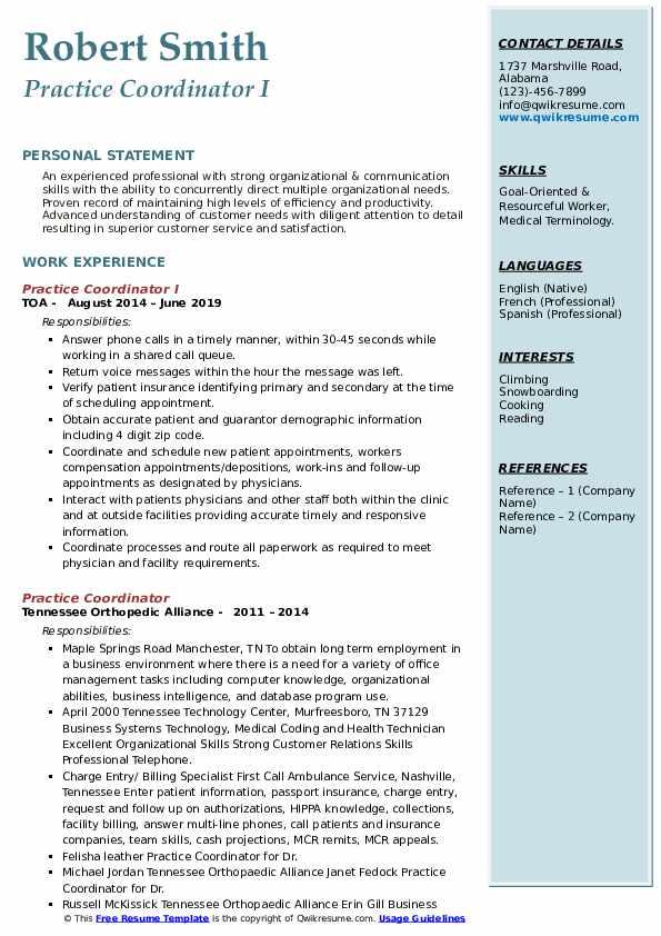 Practice Coordinator I Resume Sample