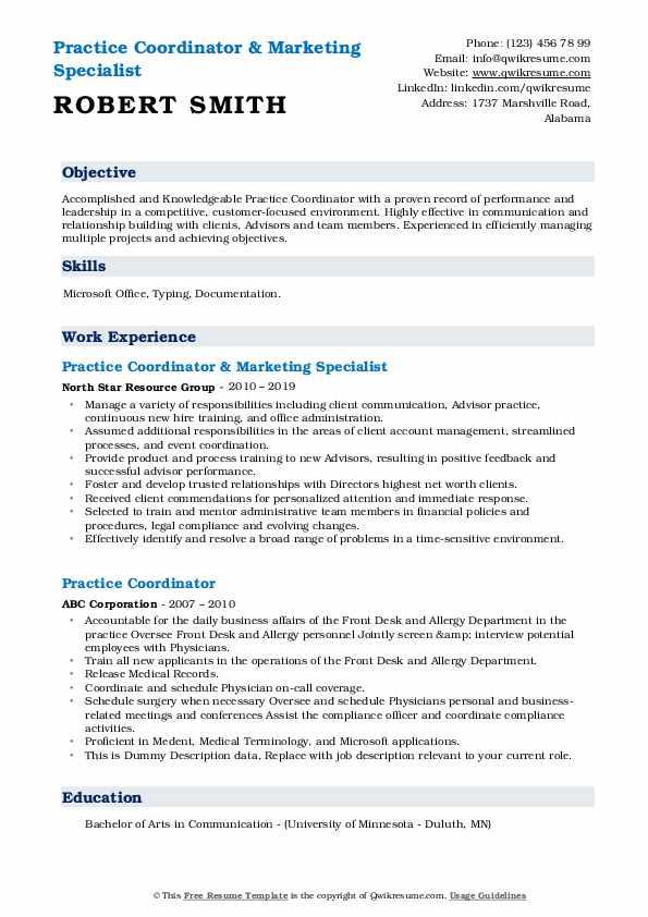 Practice Coordinator & Marketing Specialist Resume Sample