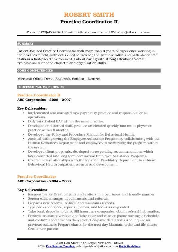 Practice Coordinator II Resume Model
