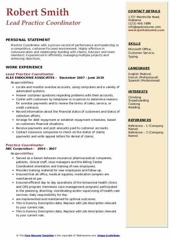Lead Practice Coordinator Resume Model