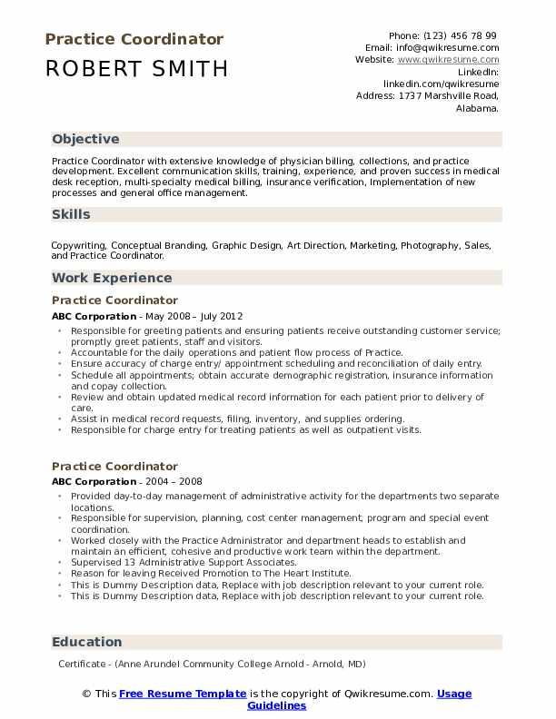 Practice Coordinator Resume example