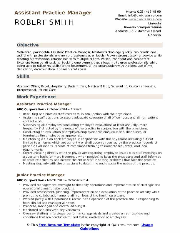 Assistant Practice Manager Resume Sample