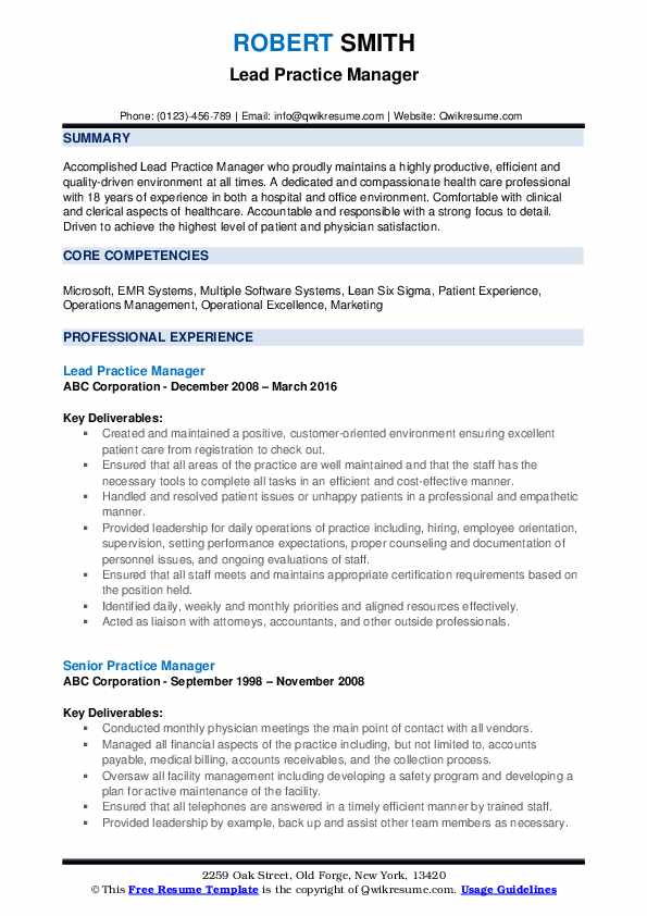 Lead Practice Manager Resume Example