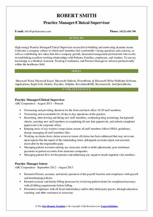 Practice Manager/Clinical Supervisor Resume Model