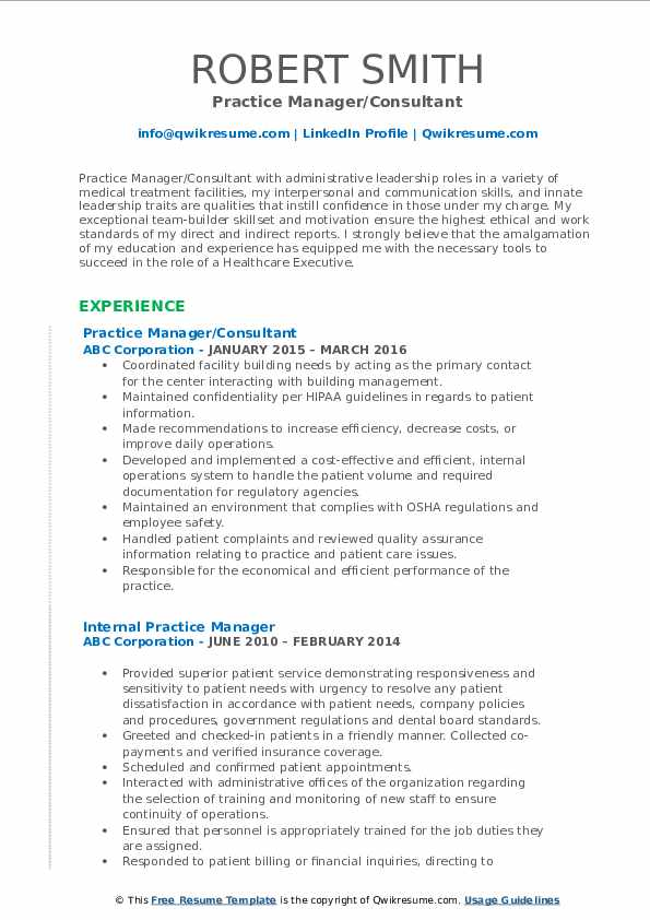 Practice Manager/Consultant Resume Template